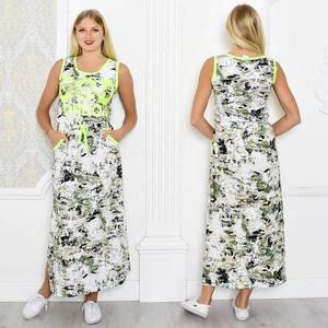 Платье длинное летнее без рукавов Т0942