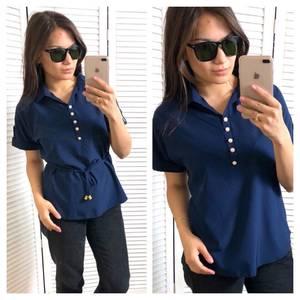 Блуза с коротким рукавом синяя Т4312
