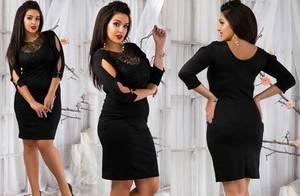 Платье короткое трикотажное черное Т5051