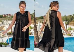 Платье короткое вечернее черное Т6127