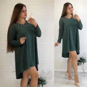 Платье короткое с длинным рукавом нарядное У0850