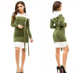 Платье короткое повседневное с длинным рукавом У1044