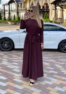 Платье длинное однотонное А08320