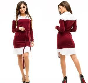 Платье короткое повседневное с длинным рукавом У1045