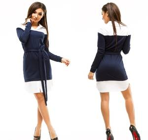 Платье короткое повседневное с длинным рукавом У1046
