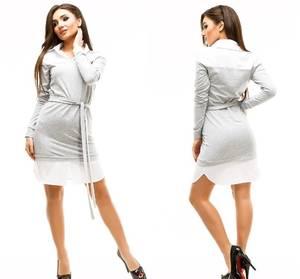 Платье короткое повседневное с длинным рукавом У1047