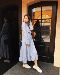 Платье длинное в горошек А09301