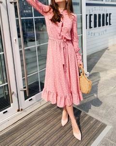 Платье длинное в горошек А09304