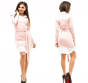 Платье короткое повседневное с длинным рукавом У1048