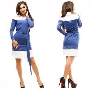 Платье короткое повседневное с длинным рукавом У1049