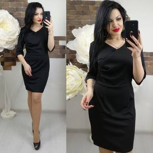 Платье короткое с рукавом 3/4 однотонное Х7370