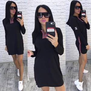Платье короткое с длинным рукавом черное Х7274
