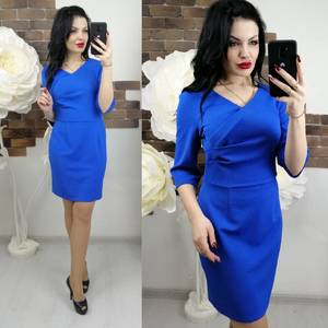 Платье короткое с рукавом 3/4 синее Х7372