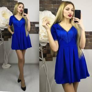 Платье короткое нарядное синее Х7375