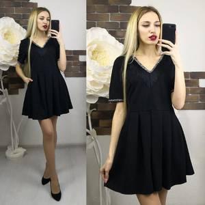 Платье короткое нарядное черное Х7373