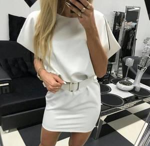 Платье короткое однотонное белое Т5222