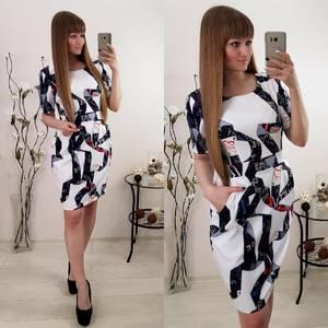 Платье короткое белое с принтом С9529