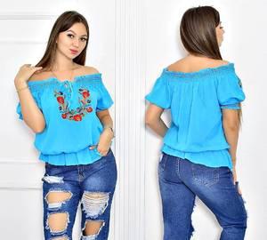 Блуза голубая с цветочным принтом Т5522
