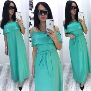 Платье длинное голубое нарядное Т6074