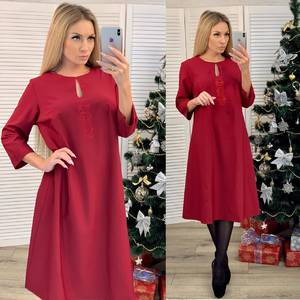 Платье короткое с рукавом 3/4 красное Ф6655