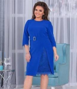 Платье короткое нарядное синее Ф8877
