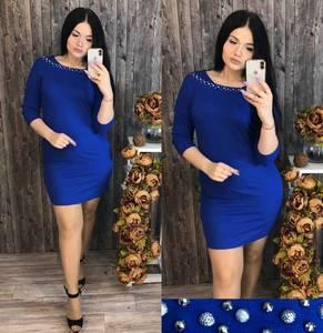 Платье короткое с рукавом 3/4 синее Ц0372
