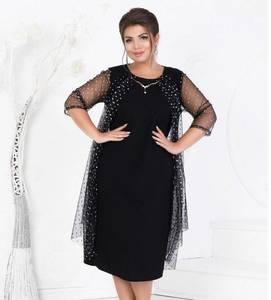 Платье короткое нарядное черное Ф9049