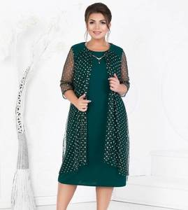 Платье короткое нарядное зеленое Ф9051