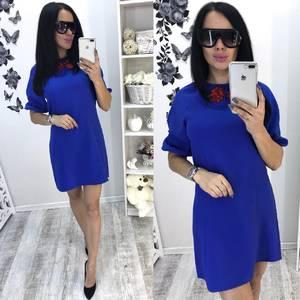 Платье короткое с рукавом 3/4 синее Т6087