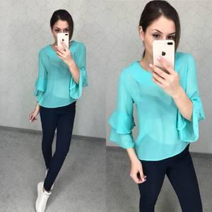 Блуза голубая прозрачная Т5794