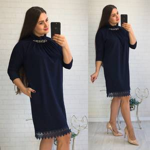 Платье короткое нарядное синее У8092