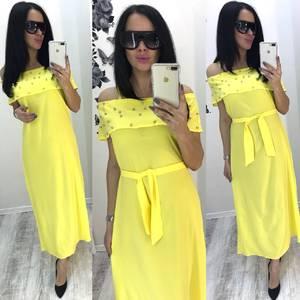 Платье длинное желтое нарядное Т6075