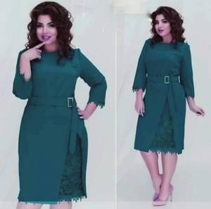Платье короткое нарядное зеленое Ф8878