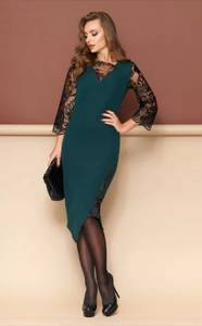Платье короткое нарядное с кружевом Ф9363