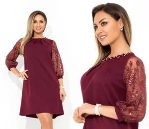 Платье короткое нарядное однотонное Ф9758