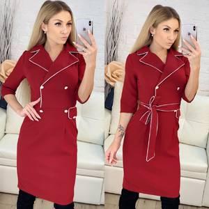 Платье короткое с рукавом 3/4 классическое Ф9550