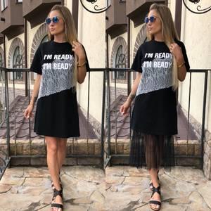 Платье короткое с принтом черное Т6063