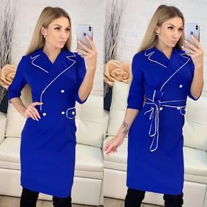 Платье короткое с рукавом 3/4 синее Ф9551