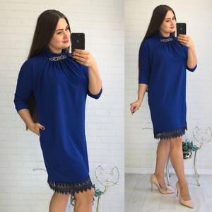 Платье короткое нарядное синее У8093