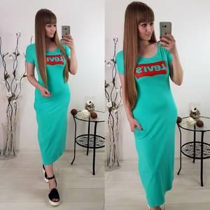 Платье длинное с принтом голубое Т6082