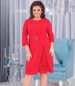 Платье короткое нарядное красное Ф8879