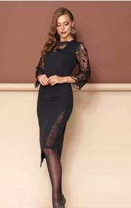 Платье короткое нарядное с кружевом Ф9364