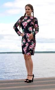 Платье короткое с длинным рукавом Ч0684
