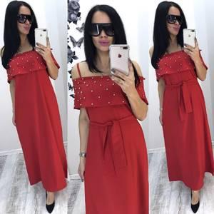 Платье длинное красное нарядное Т6077