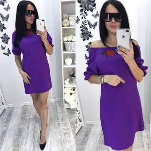 Платье короткое с рукавом 3/4 однотонное Т6083
