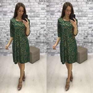 Платье короткое нарядное зеленое Т6114