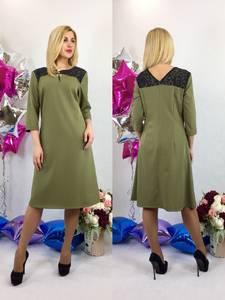 Платье короткое офисное зеленое Т6117