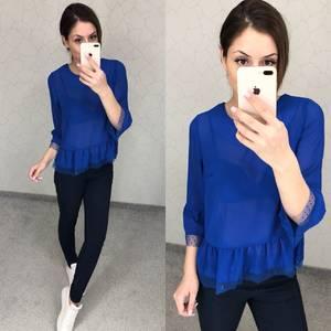 Блуза синяя прозрачная Т5801
