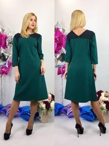Платье короткое офисное зеленое Т6118