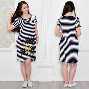 Платье короткое повседневное с принтом Т0460